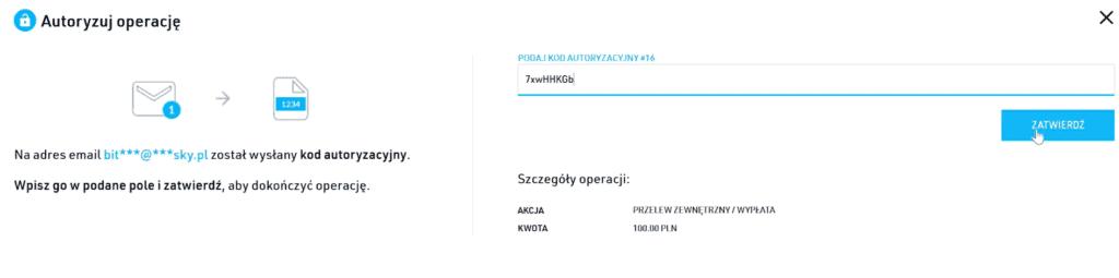 Potwierdzenie wypłaty na BitBay.net - autoryzacja operacji kodem