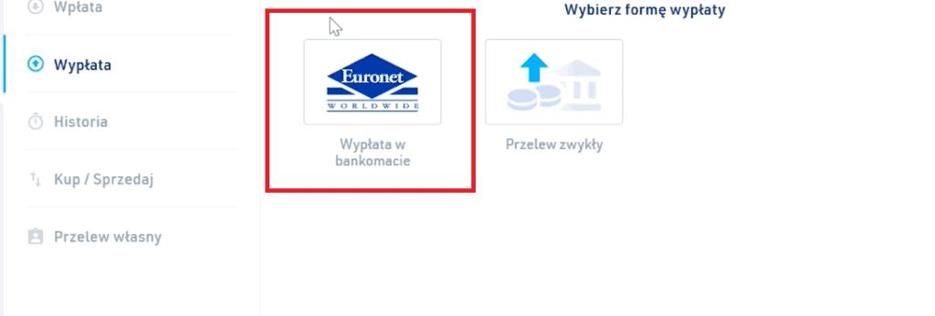 Wypłata w bankomacie Euronet na BitBay.net