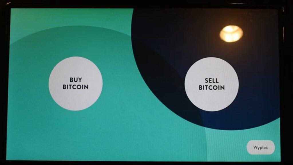 Buy Bitcoin i Sell Bitcoin na ekranie bitomatu