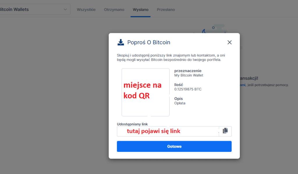 Blockchhain.com: Prośba o bitcoin - link do przesłania i kod QR